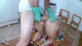 Horny big tited blonde gets a milk enema by the doctor photo 1