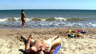 Cute young spanish teen playing naked on the beach and peeing on older guyphoto 1